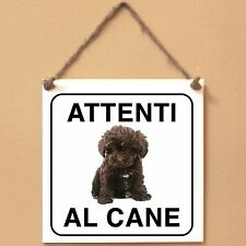 Schnoodle 2 Attenti al cane Targa piastrella cartello ceramic tile sign dog