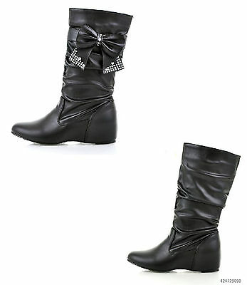 Cute Women's Low Heel Mid-Calf Bowknot Boots Shoes US All Size Y016