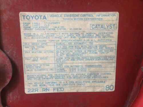1986 22r Carb Toyota Pickup Truck//4runner Hilux Fed Emissions Decal Repro #80