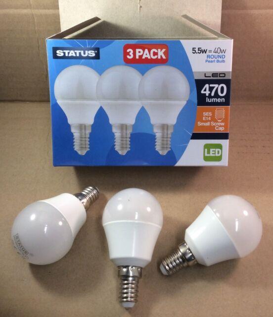 COOL WHITE STATUS LED CANDLE BULB 5.5W=40W SES//E14 1 2 3 4 6 8 OR 10 BULBS