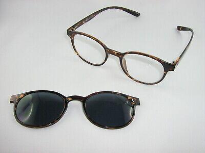 attraktive Mode am besten online 100% authentisch NEU + Extra leichte Kunststoff Brille braun mit Magnet - Sonnenclip fast  rund | eBay