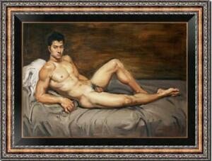"""Original Oil Painting art gay male nude on Canvas 24""""x36"""""""