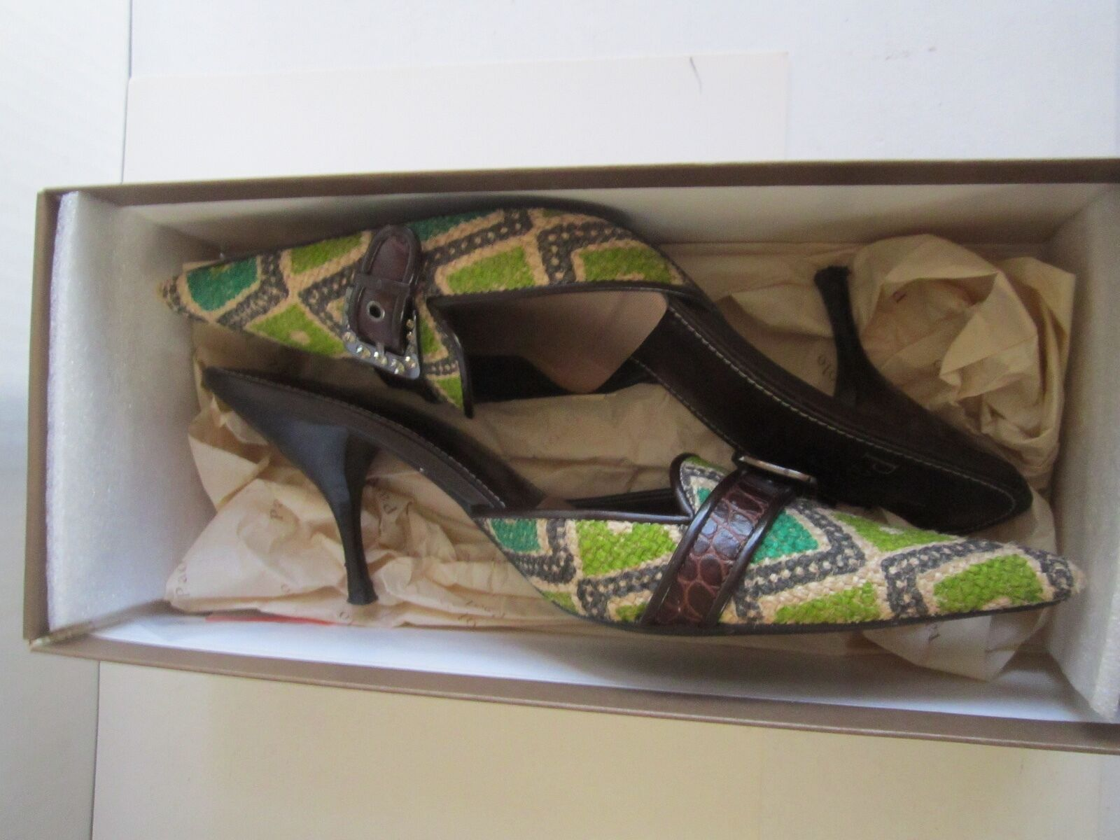 centro commerciale online integrato professionale LENEA PAOLO MULE POINTED scarpe - FABRIC WITH CRYSTAL CRYSTAL CRYSTAL BUCKLE - Dimensione 7 1 2 N  100% di contro garanzia genuina
