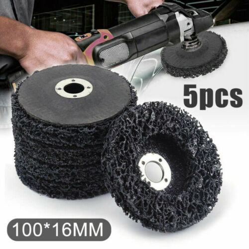 5pcs Black Poly Strips Disc Wheel Paint Rust Removal Clean For Angle Grinder