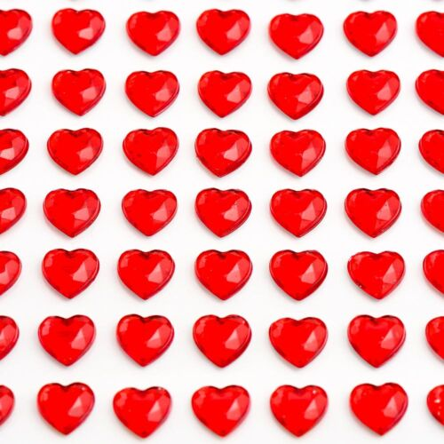 Self Adhesive HEARTS Stick on Gems Craft Invitations Card Making Wedding