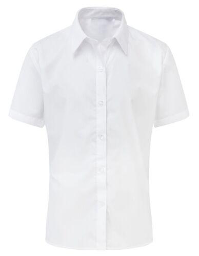 Womens Ladies Blouse White Sky Blue Shirt Office Work Formal Smart Plus Size