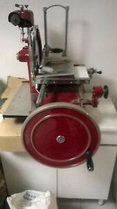Affettatrice-Rossa-Vintage-a-Volano-034-tipo-Barkel-034-Lama-da-cm-30