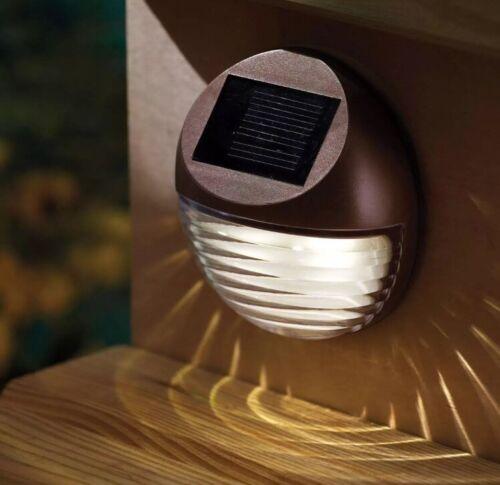 2 x Solare Decorativa Giardino Luci Esterno Recinzione PASSO Grondaia Recinto Luce Marrone
