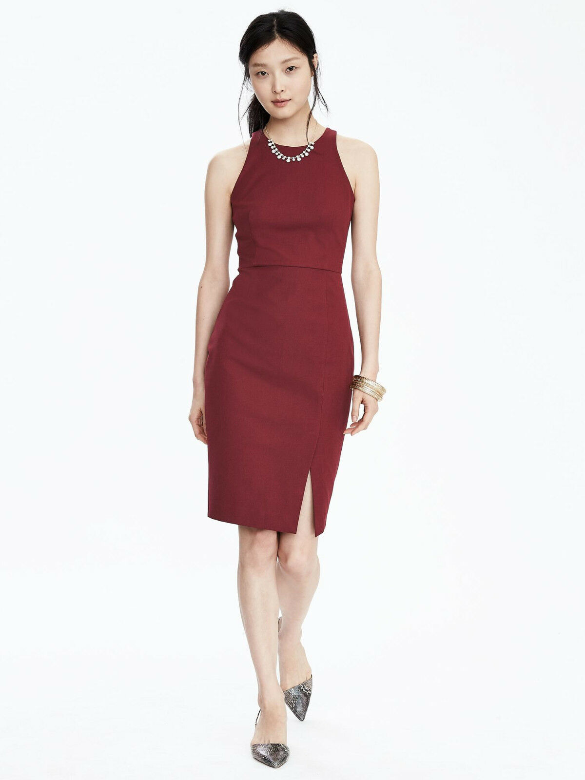 NWT Banana Republic Sleeveless Sheath Dress, Wine Größe 14P 14 P