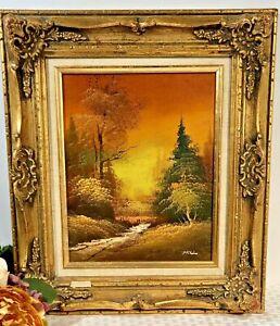 """""""Autumn Dawn"""" Original certified Oil Signed Guilt Gesso Gold Leaf Frame Vintage*"""