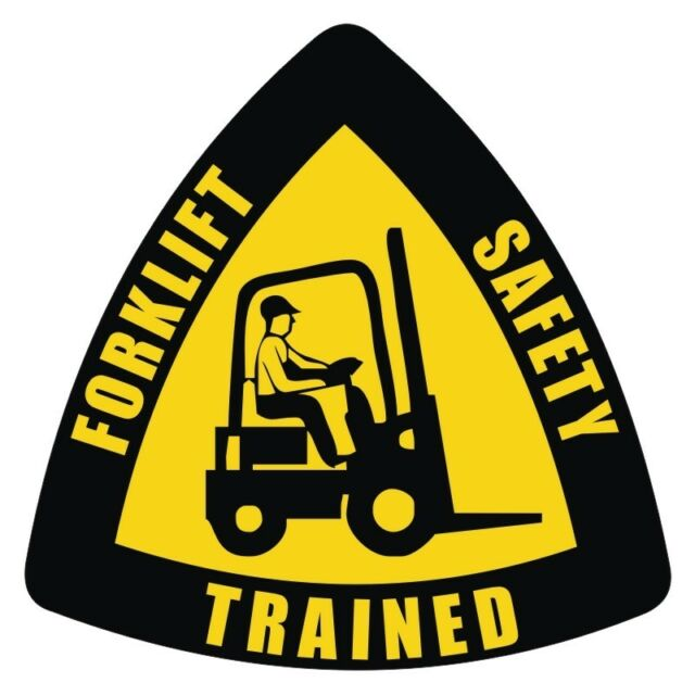 Forklift Safety Trained Hard Hat Decal / Label / Helmet Sticker Tow Motor Truck