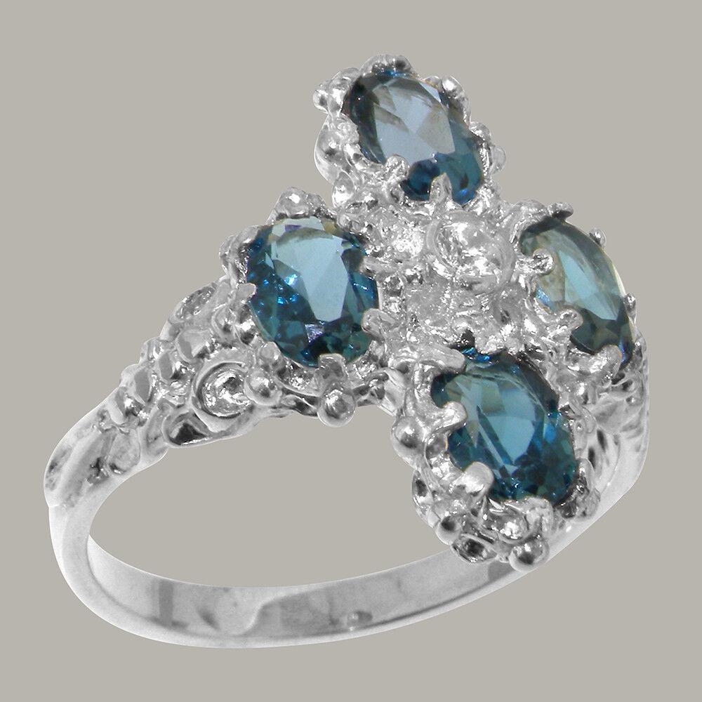 18ct 750 White gold Natural Diamond & London bluee Topaz Womens Cluster Ring