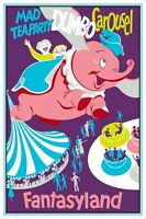 Vintage Disney Poster - Fantasyland Mad Tea Party Dumbo Carousel 8.5 X 11
