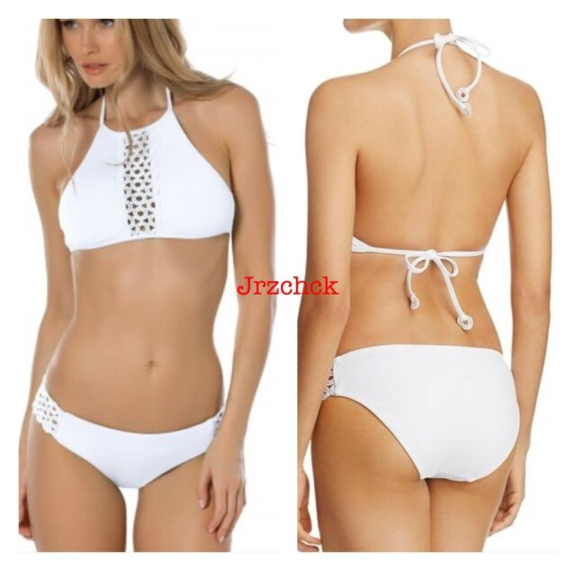 7298167f1b2 BECCA 2 PC High Neck Bikini Bathing Suit Swimsuit Set Sz S White