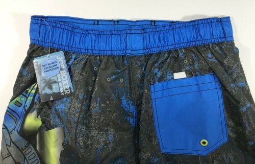 BOY'S SWIMSUIT JOE BOXER SHARK NWT SIZE HUSKY 14 BLUE BLACK 100/% POLYESTER
