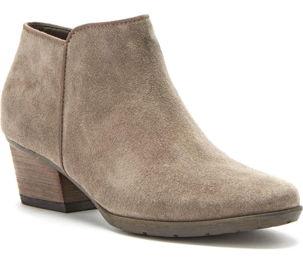 NIB Blondo Villa Waterproof Leather Ankle Bootie Side Zip US 7.5 Mushroom Suede