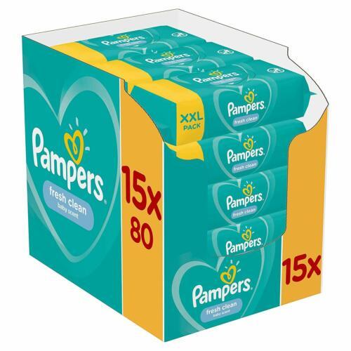 Pampers Fresh Clean Feuchttücher 15 Packungen 1200 Feuchttücher