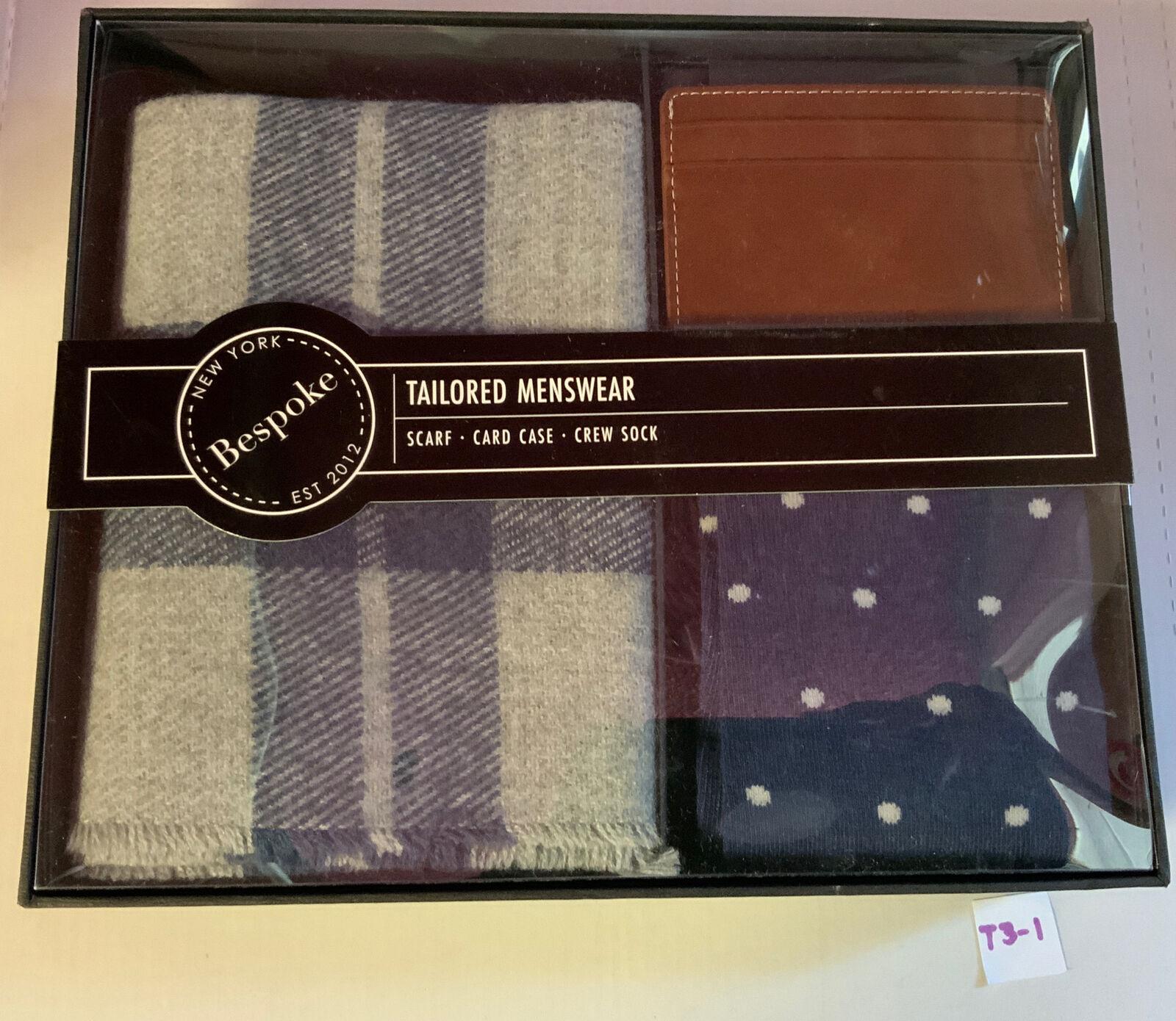 ✅ Bespoke Men's Dapper Box - Scarf Card Case Crew Socks,