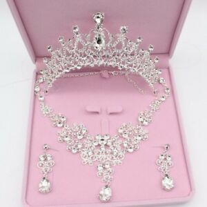 Image Is Loading Wedding Accessories Sparkling Tiaras Necklace Earrings Bridal Jewelry
