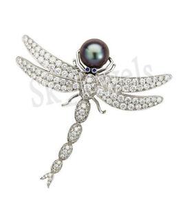 3-51ctw-Natuerlich-Rund-Diamant-Perle-Edelstein-14K-Echt-Weissgold-Insekt-Brosche
