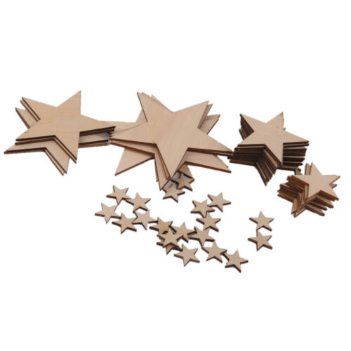 50x Plain Wooden Mixed Cutout Stars Shape Crafts Cardmaking Scrapbooking 3mm