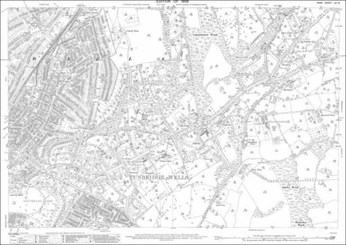 Tunbridge Wells central old OS Kent map  60-12-1909 repro