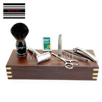 Vintage Barber Salon Double Edge Blade Shaving Razor Gift Set 8 Pc Luxury Kit