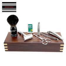 VINTAGE BARBER SALON doppio bordo lama rasoio da barba set regalo 8 PC KIT DI LUSSO