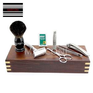 vintage barbier lame double tranchant rasoir set 8 pi ces. Black Bedroom Furniture Sets. Home Design Ideas