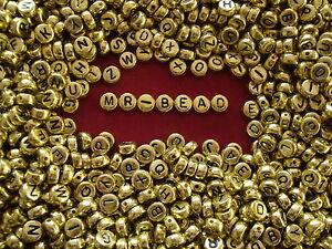 Plastic  Alphabet Beads 52 pieces Gold Colour A to Z x2 sets Flat Round