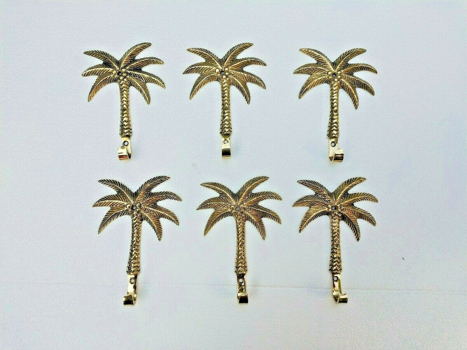 Brass Wall Mount Hooks Palm Tree  Lot of 6 Pcs