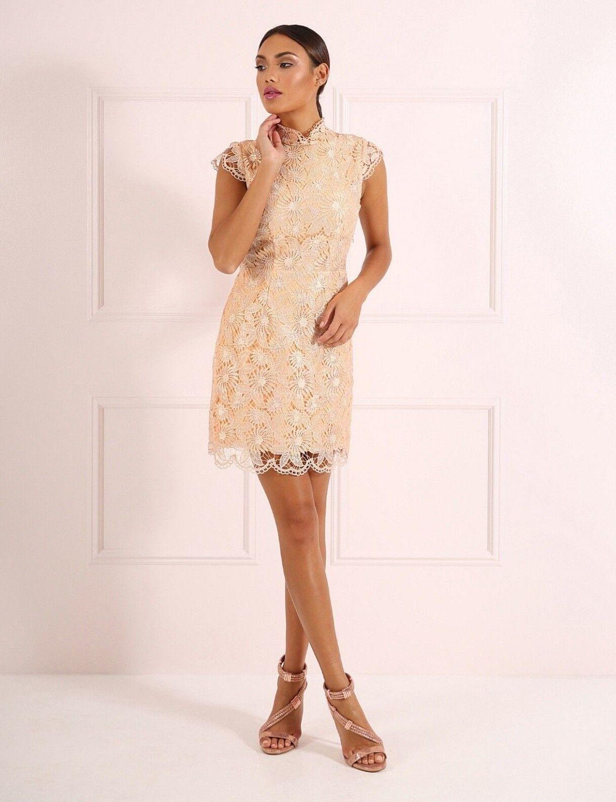 BNWT Forever Unique Goldie Lace Applique Cut Out Detail Shift Dress UK10 RP