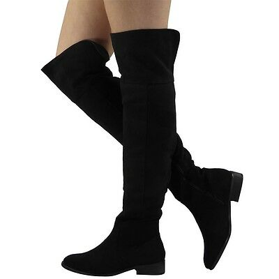 WOMENS LADIES THIGH HIGH OVER THE KNEE LONG ZIP LOW BLOCK HEEL BOOTS SHOES SIZE
