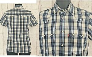 Levis-Strauss-Mens-Shirt-Size-Small-RED-TAB-Navy-Check-S-S-Cotton-NEW-Faulty