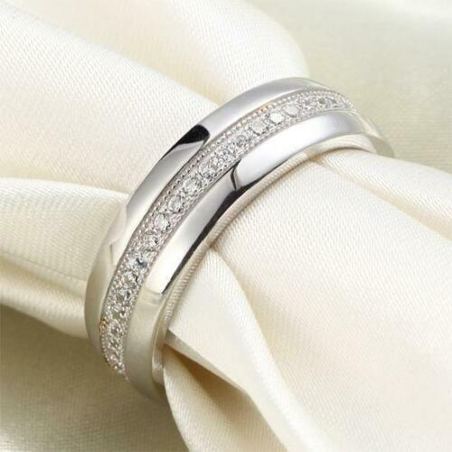 Details about  /Round Cut Tiny Diamond Simply Classy Elegant Men/'s Wear Ring 14K White Gold Over