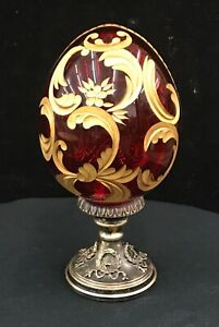 Vintage-Ruby-Gilded-FABERGE-Egg-Sterling-Base-Signed-Beauty
