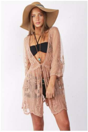 Women URBAN MIST Floral Sheer Tie Front Scallop Embroidered Lace Kimono Cover Up