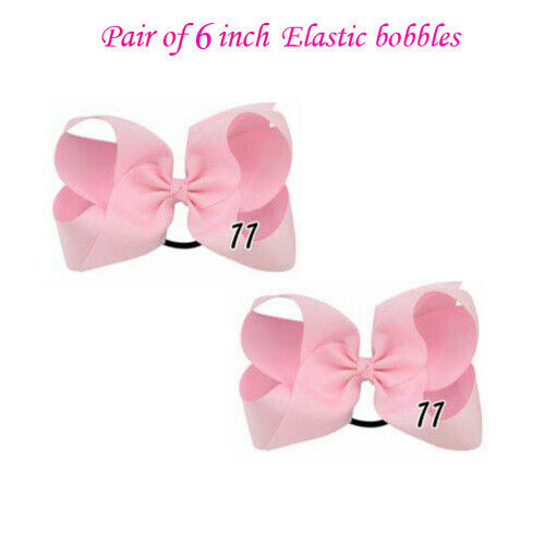 "6/"" Bow Girls kids Ribbon Handmade pony pair band Hair Bows lot Elastic Bobbles"