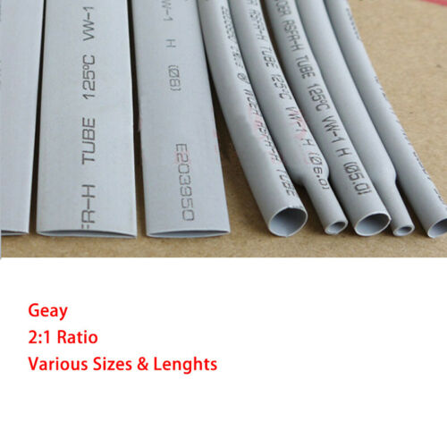 Grey Heat Shrink 2:1 Tube Car Cable Wire Electrical Tubing Sleeving Sizes/&Lens