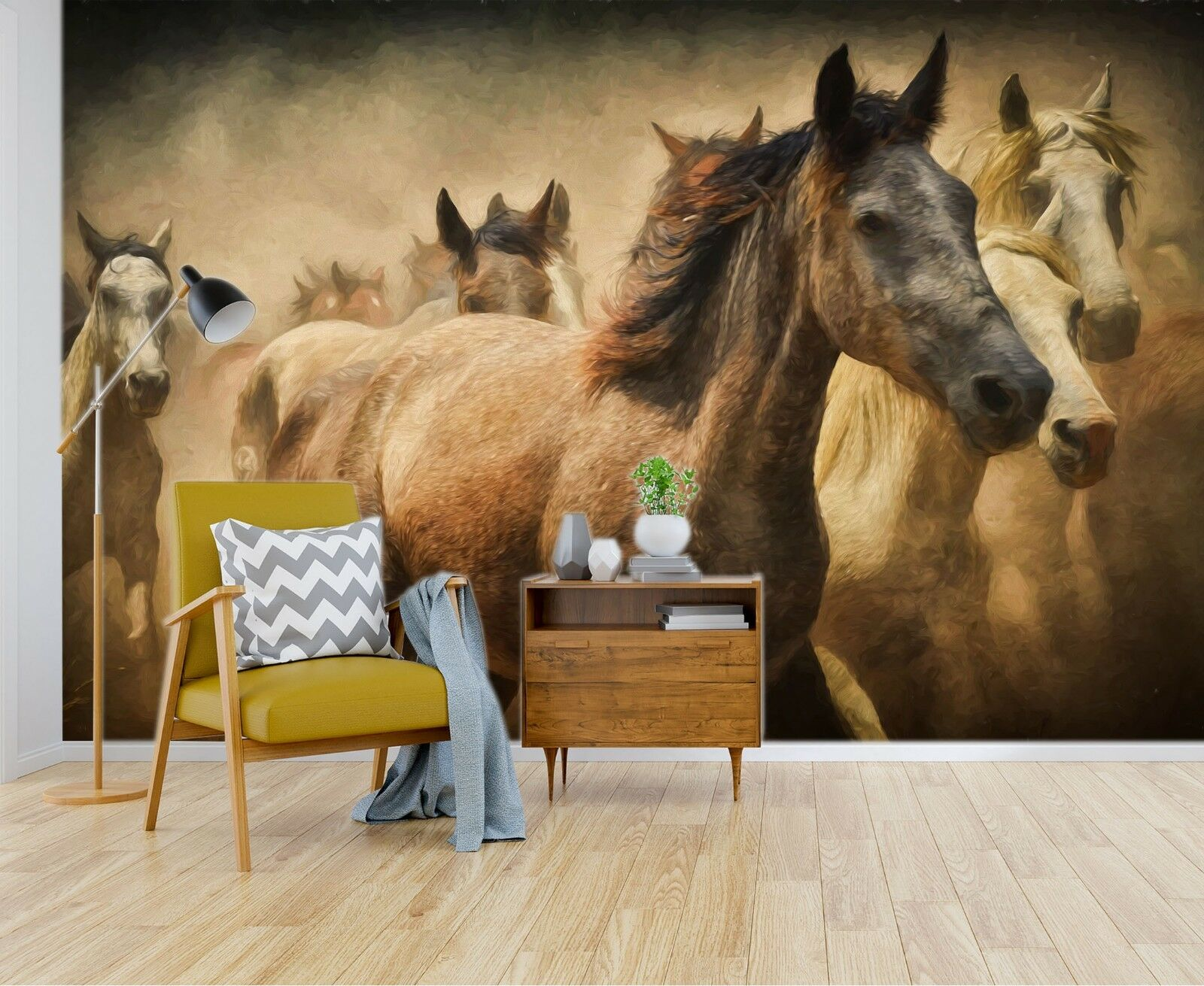 3D Horse Group Oil Painting 4 Wallpaper Mural Wall Print Wallpaper Mural AJ WALL