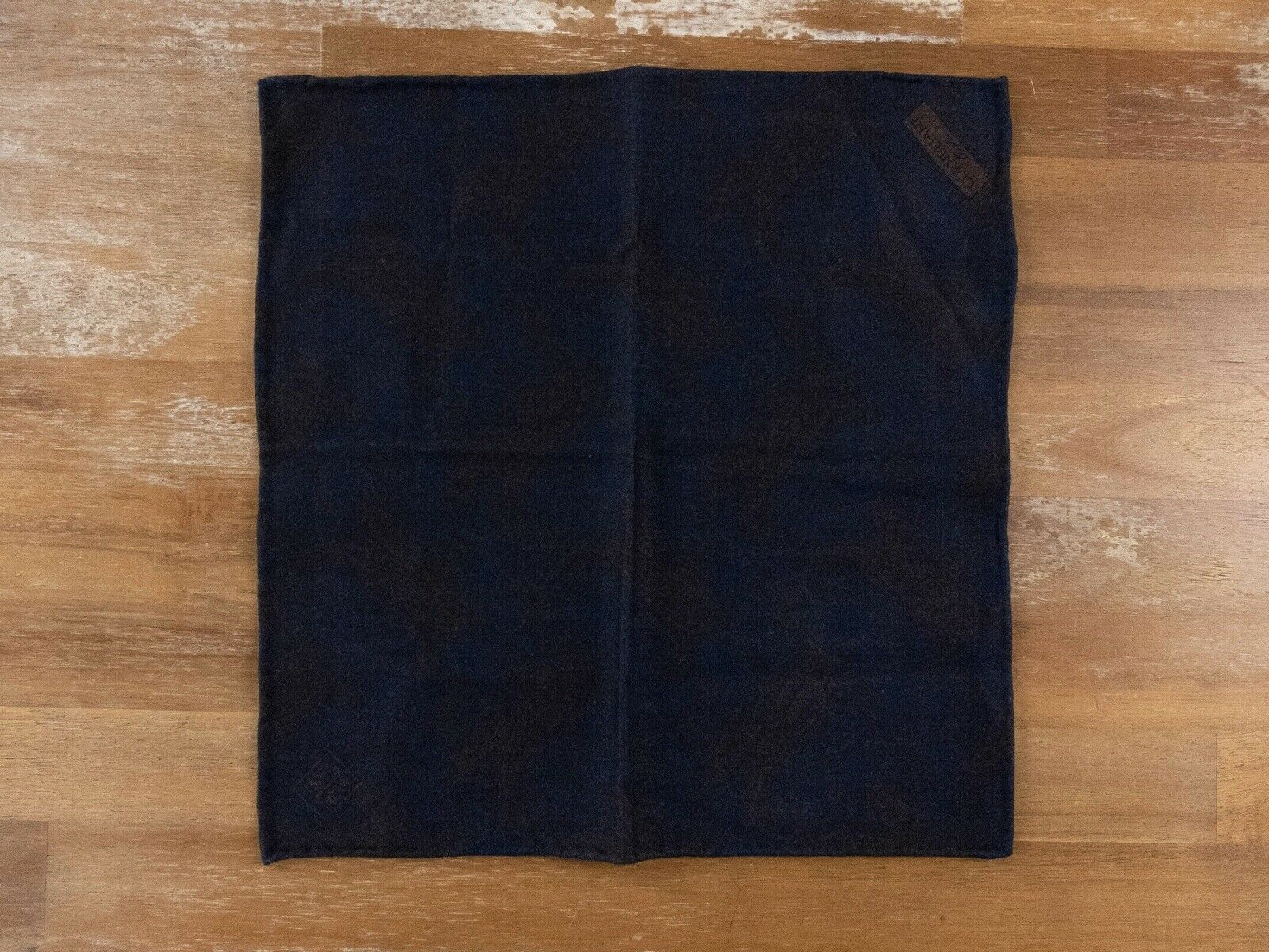 CORNELIANI brown blue wool reversible pocket square authentic