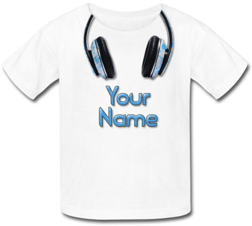 Musique Casque Personnalisé Enfants T-Shirt-Grand Dress up cadeau /& nommé trop