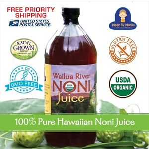100% HAWAIIAN WAILUA RIVER NONI JUICE Certified Organic: One Glass Bottle 32 oz.