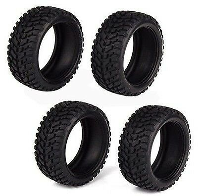 4 x Black RC1:10 Rally Car Off-Road Rubber Wheel Tires