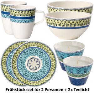 VILLEROY-amp-BOCH-Casale-Blu-CARLA-8-tlg-Fruehstuecksset-Porzellan-Inkl-2x-Teelicht