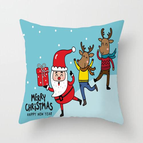 Christmas Deer Pillow Case Polyester Sofa Throw Cushion Cover Home Decor 18/'/'