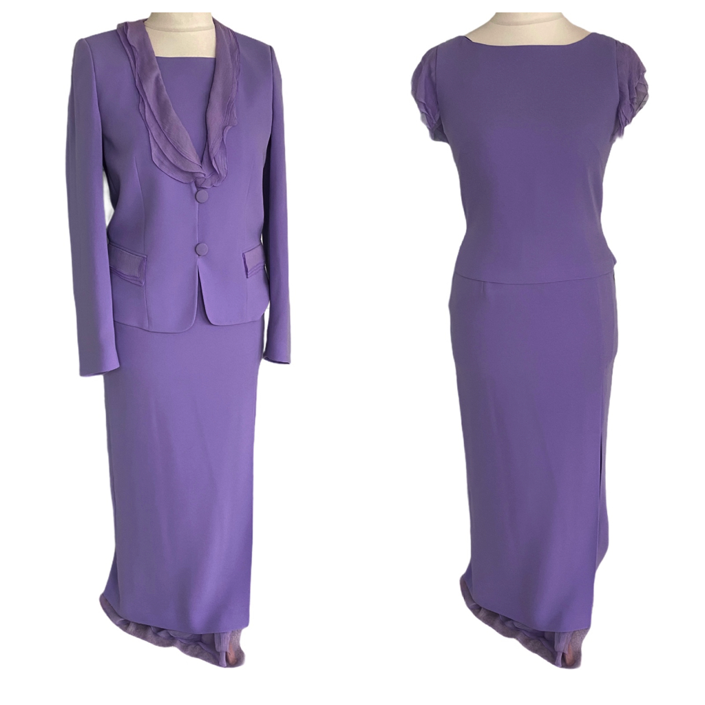 *BNWT* PRESEN 3 Piece Skirt Suit Mother of the Bride 10 UK Special Occasio Lilac