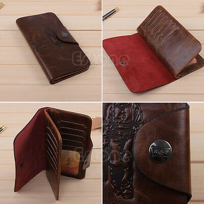 Men's Leather Long Wallet Pockets ID Card Clutch Cente Bifold Purse Brown