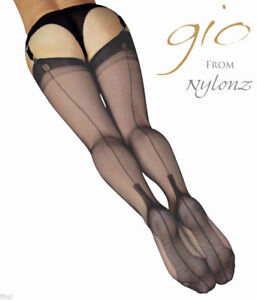 ebd9978f5 Image is loading Gio-Fully-Fashioned-Stockings-BARELY-BLACK-CUBAN-Imperfects