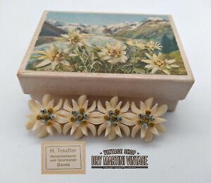 VINTAGE-ART-DECO-CARVED-BONE-EDELWEISS-SWEETHEART-BROOCH-PIN-WW2-IN-ORIGINAL-BOX